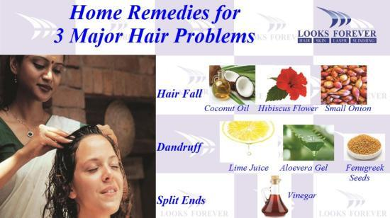 Home Remedies for 3 Major Hair Problems