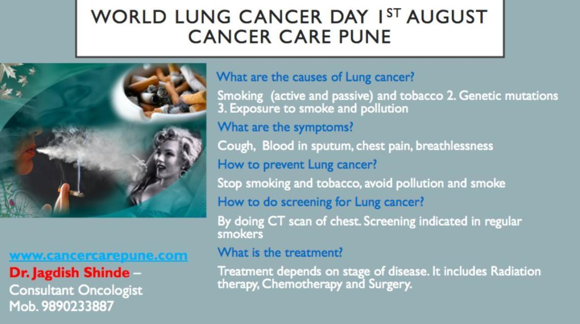 Cancer Care Pune Celebrating World Lung Cancer Day 1 St August