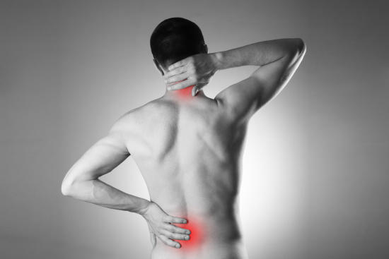 Neck and low back pain are the most common areas of discomfort.