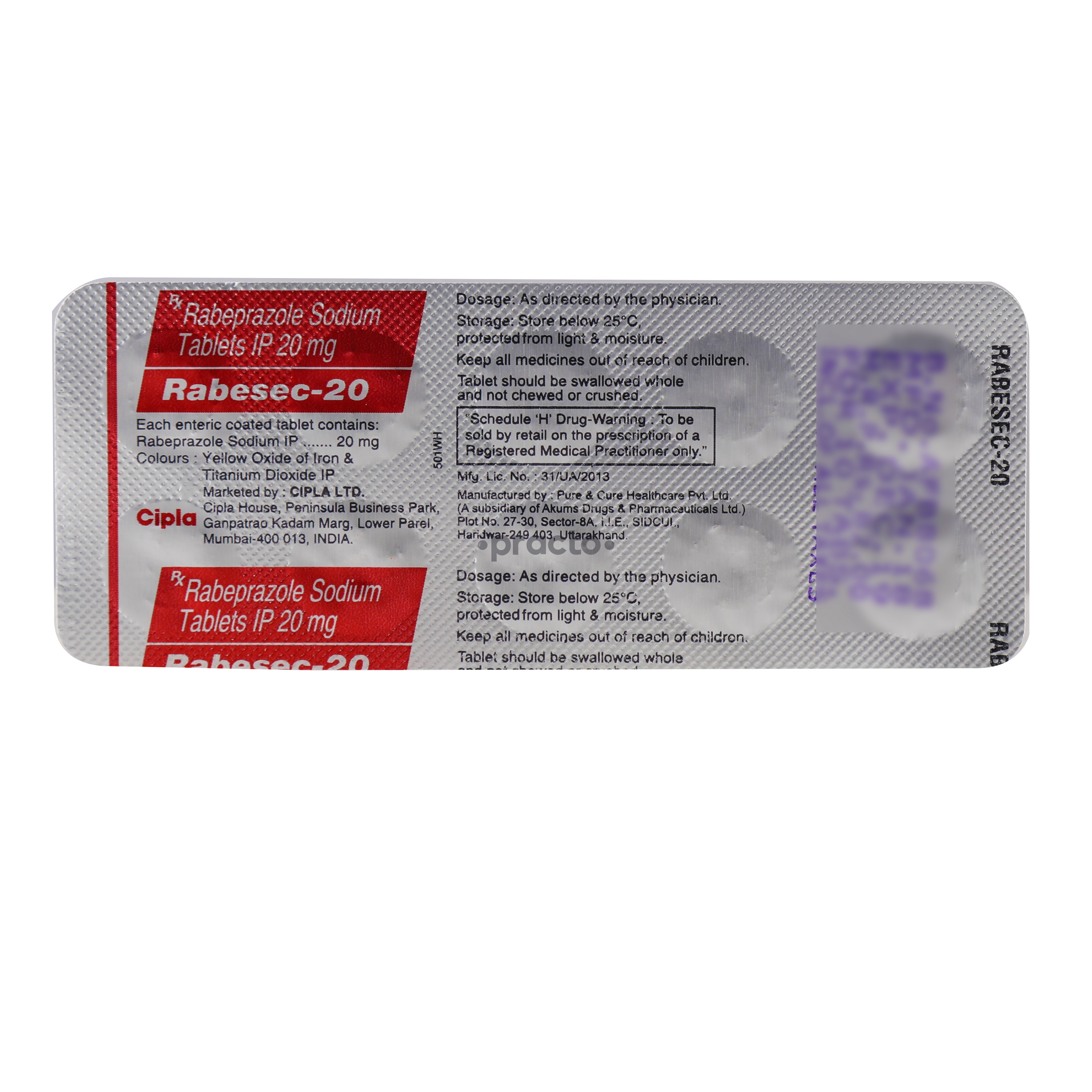 Rabesec 20 MG Tablet by Cipla Ltd.