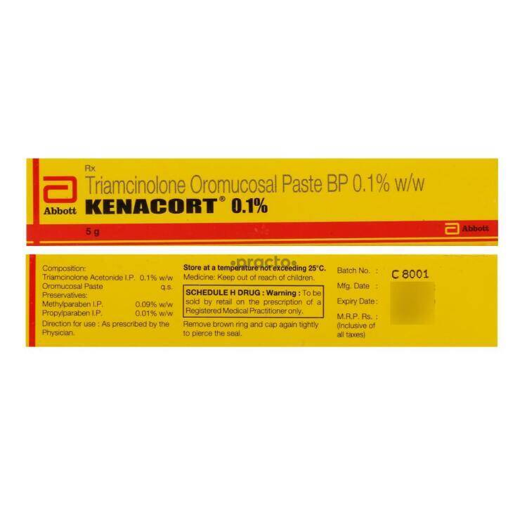 Kenacort 0.1 % Paste - Uses, Dosage, Side Effects, Price, Composition |  Practo